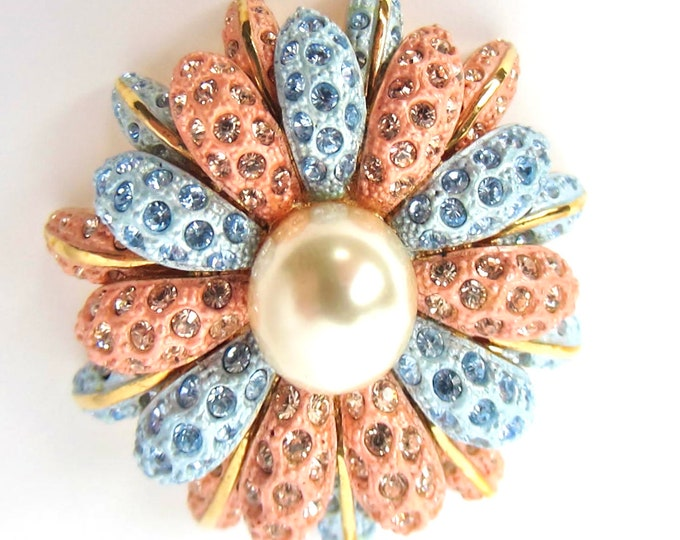 Joan Rivers signed blue & pink crystal flower PIN ~ageless vintage costume jewelry