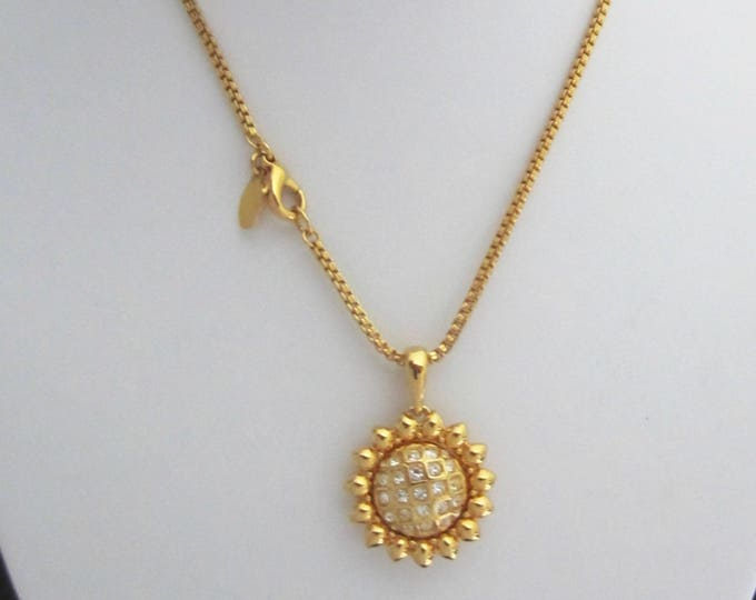 "Classic NOLAN MILLER signed SUNFLOWER pendant, 3 interchangeable centers, & 24"" box chain ~vintage costume jewelry."