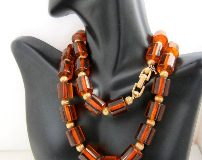 "TRiFARi signed BAKELITE tested orange amber, Barrel bead NECKLACE ~24"", 74 gm, awesome vintage costume jewelry"