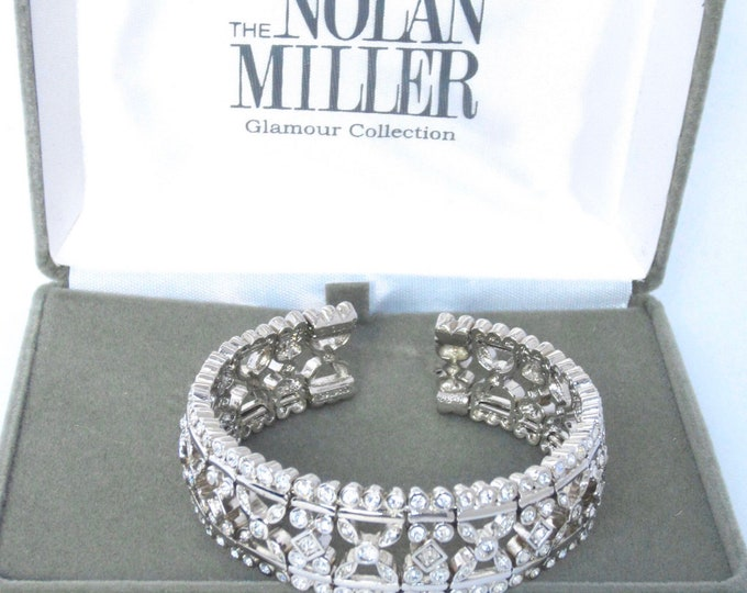 Nolan Miller signed Silver tone Panel Cuff Bracelet with Crystals in Original box ~ELEGANT, vintage costume jewelry