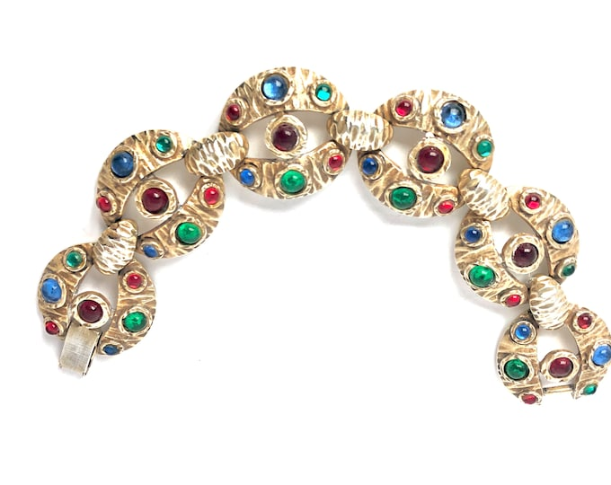 Corocraft signed Moghul-style link/panel Cabochon crystal BRACELET ~sold AS IS ~beautiful, mid-century, collectible, vintage costume jewelry