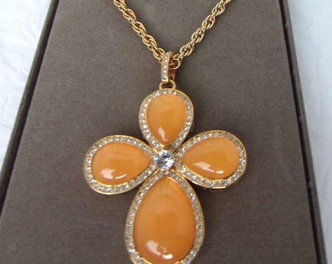 Nolan Miller signed orange amber crystal beaded Maltese Cross Enhancer & chain with org. box ~classic Miller costume jewelry