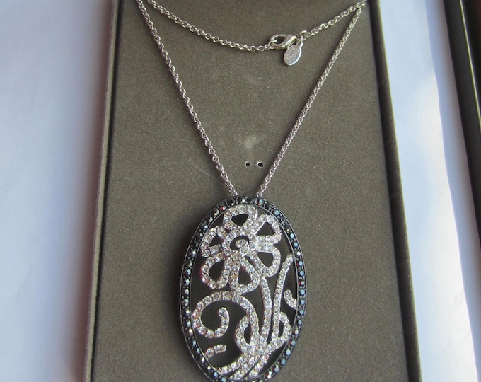 Nolan Miller signed Art Nouveau Black enamel & crystal PENDANT, CHAIN Set, org. box ~pretty, vintage costume jewelry