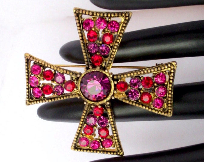 Pretty pink, purple, & red crystal MALTESE Cross pin ~vivid vintage costume jewelry