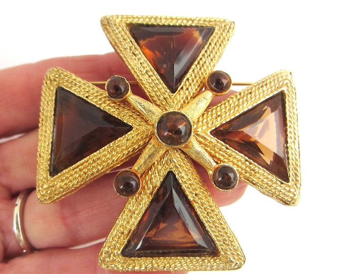 Domed Maltese Cross pin/pendant with translucent smokey glass windows ~39 gms of beautiful vintage costume jewelry