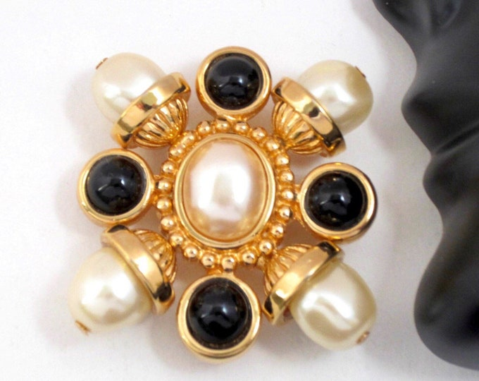 St. John Knit Maltese Cross PIN with faux pearl & black beads ~pretty, collectible costume jewelry