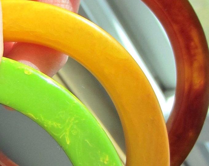Trio: HUGE, thick genuine Bakelite COG Wheel Bangle Bracelets ~65 gms of wonderful early plastic