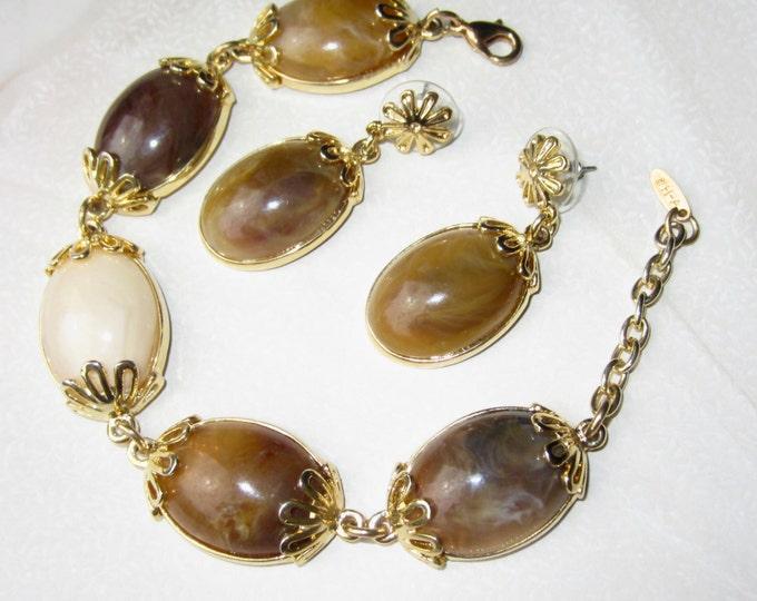 Set WARM, Wonderful Vendome signed Cabochon rhinestone CHUNKY bracelet & pierced earrings ~lovely, vintage costume jewelry