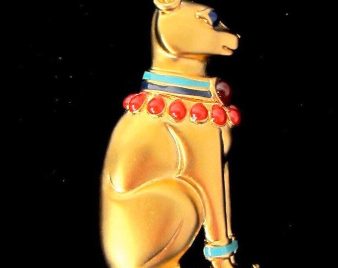 Franklin Mint (FM) signed Egyptian Revival Cat pin with original box ~pretty vintage costume jewelry