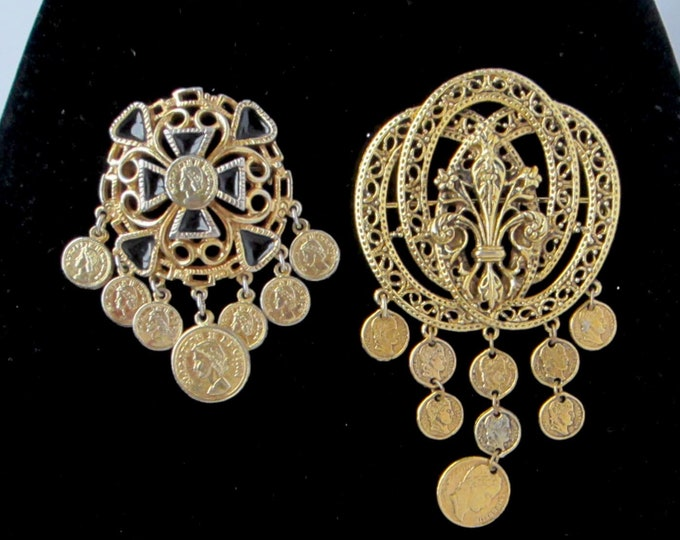 """Faux Coin Pins: """"ART"""" signed Napoleon coin pin; Queen Elizabeth pin ~pretty """"Cha-Cha"""" vintage costume jewelry"""