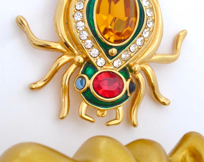 Kenneth Jay Lane (KJL) signed sensational Scarab crystal & enamel bug PIN with org. pouch, warranty card ~vintage costume jewelry