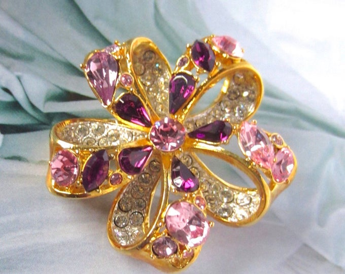 Nolan MILLER signed 3-D purple & pink SWAROVSKI crystal Fruit Salad Bow PIN, original box, romance card ~lovely, vintage costume jewelry