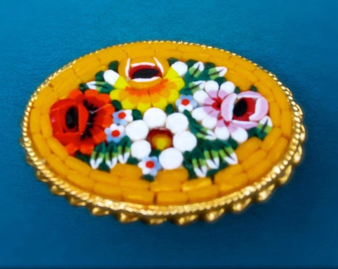 ITALY signed bright ORANGE mosaic MILLEFIORI daisy & roses floral pin ~ brooch. Lovely, handset, vintage costume jewelry