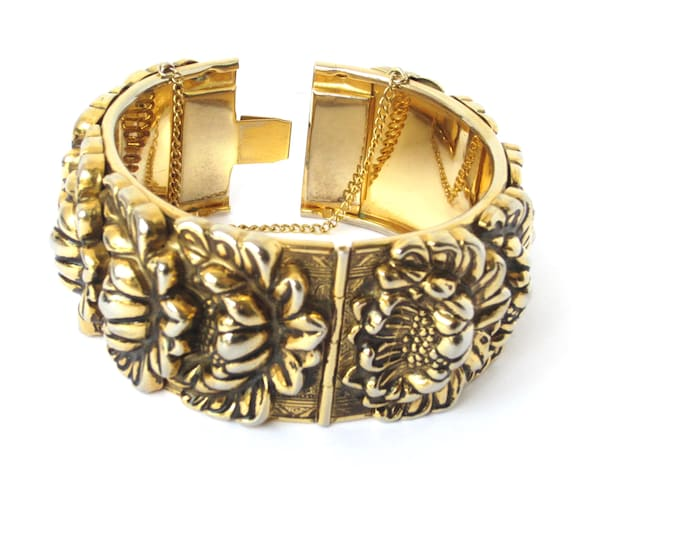 Vargas signed large repousee, floral Art Nouveau inspired, hinged, clamper Bangle Bracelet ~lovely vintage costume jewelry