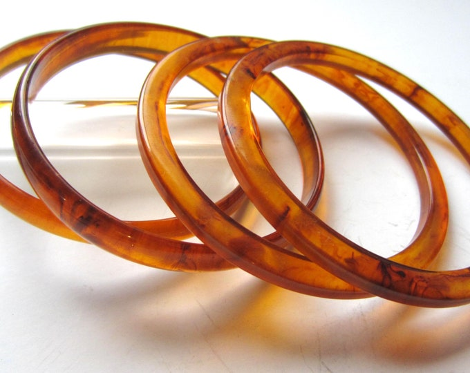 Lot Bakelite Root beer/tortoise shell, translucent,  End-of-the-Day Bangle Bracelets ~ ** gms of pretty vintage jewelry