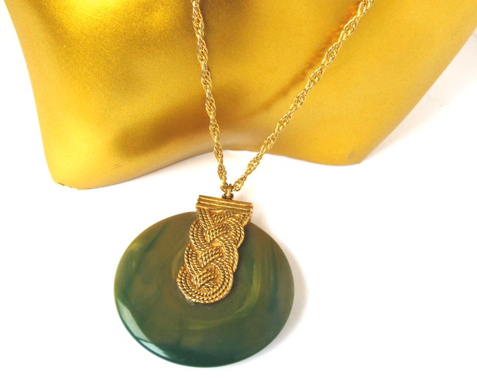 Max Factor signed marbled Green lucite Pendant & Chain with perfume cream holder ~unique, vintage costume jewelry