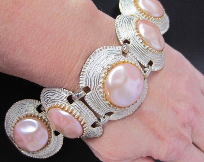 White Wash & Pink Baroque pearl Bead Panel Bracelet ~wide, chunky, pretty vintage costume jewelry