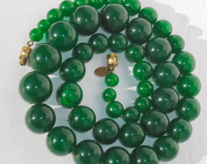 """Les Bernard signed Luminous GREEN GLASS glass bead graduated 25"""" NECKLACE strung on chain ~76 gms of stunning, vintage costume jewelry"""