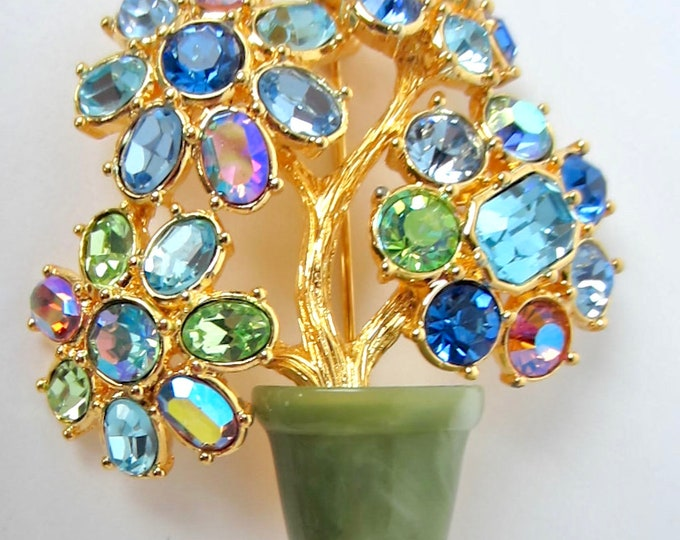 Joan Rivers signed JADE Tree with blue, green crystals  ~pretty vintage costume jewelry