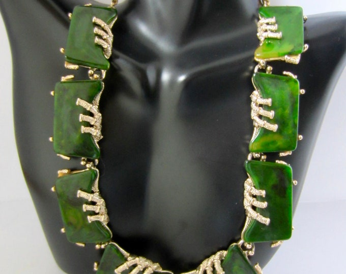 ART signed BAKELITE tested Asian Revival NECKLACE ~lovely vintage costume jewelry