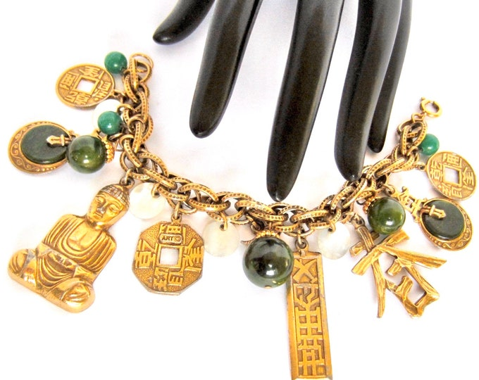 "BAKELiTE tested ART signed Asian motif ""cha cha"" CHARM dangle Bracelet ~special vintage costume jewelry"
