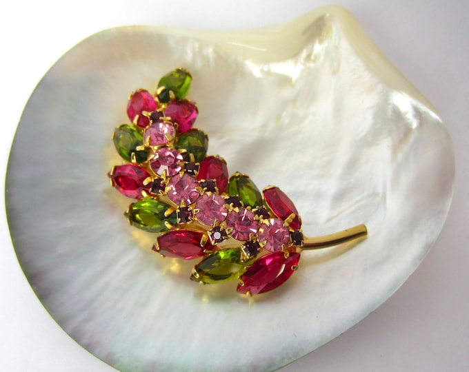JULIANA pink, green crystal leaf PIN ~vintage costume jewelry