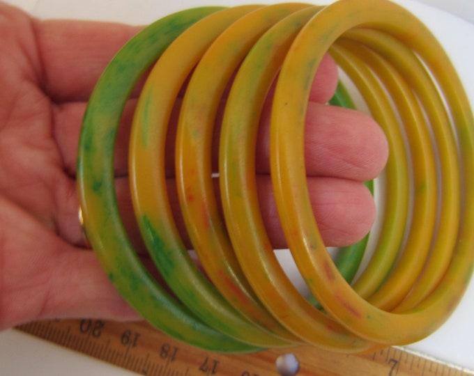 5 BAKELiTE tested spotted/marbled spacer Bangle Bracelet lot ~unique vintage costume jewelry