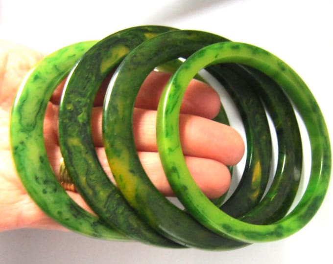 "4 BAKELITE tested ""Interesting Shapes"" GREEN End-of-the-Day Bangle Bracelets ~pretty lot vintage costume jewelry"