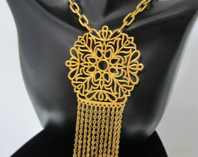 TRiFARi signed stain glass gold tone bouquet of FLOWERS pendant with tassels, chain ~wonderful, vintage costume jewelry