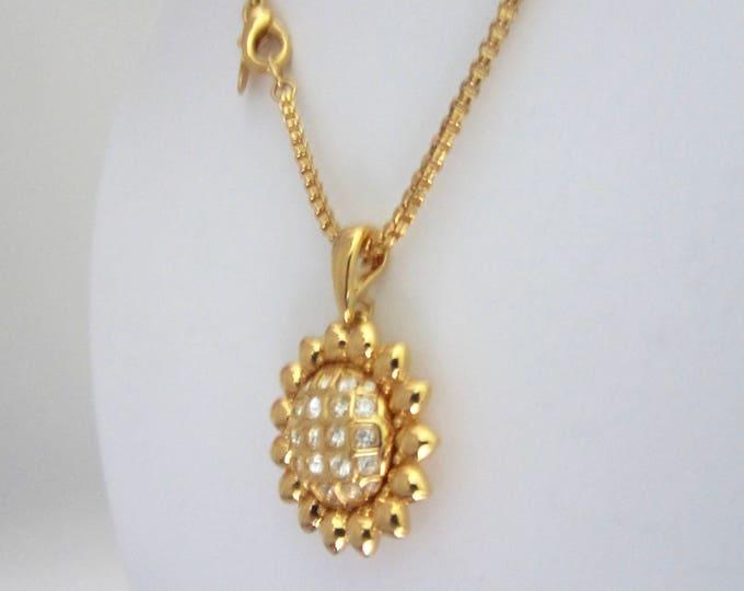 "Classic NOLAN MILLER signed SUNFLOWER pendant, 3 interchangeable centers, & 24"" box chain ~vintage costume jewelry."