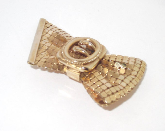 Three-dimensional, MESH~Chain Mail, Big Bow Pin ~lovely vintage costume jewelry