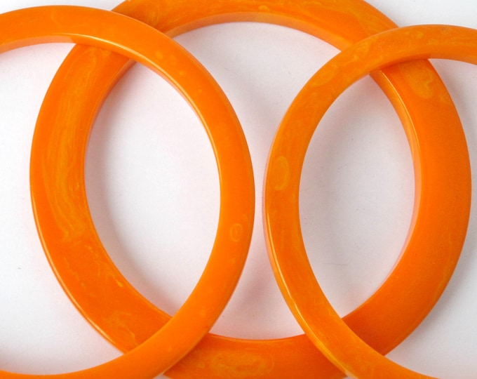 "BAKELITE tested ""ORANGE-sicle"" marbled Flatty Bangle Bracelet LOT ~34 gms of pretty vintage jewelry"