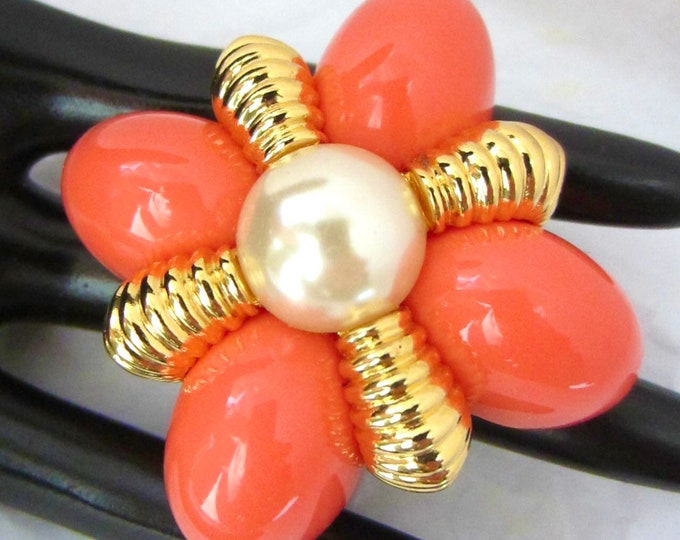 Joan Rivers signed large coral, pearl beads Brooch