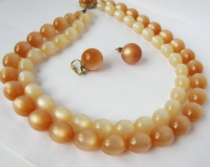 Warm cashmere thermoset double-stranded Necklace & Earring SET ~lovely, mid-century costume hewekry