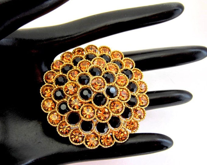 Lisner signed tiered/domed bursting flower Brooch with copper & black crystals -pretty, mid-century jewelry