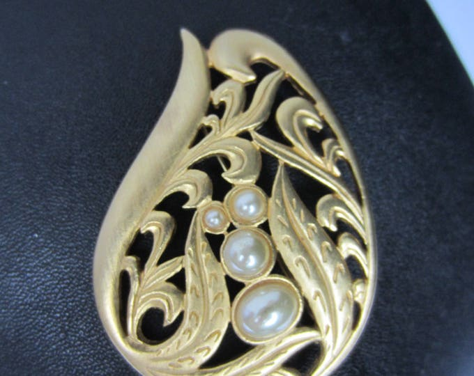 VENUE signed SATIN finished, pearl bead FLORAL motif Art Nouveau Brooch ~pretty, vintage costume jewelry