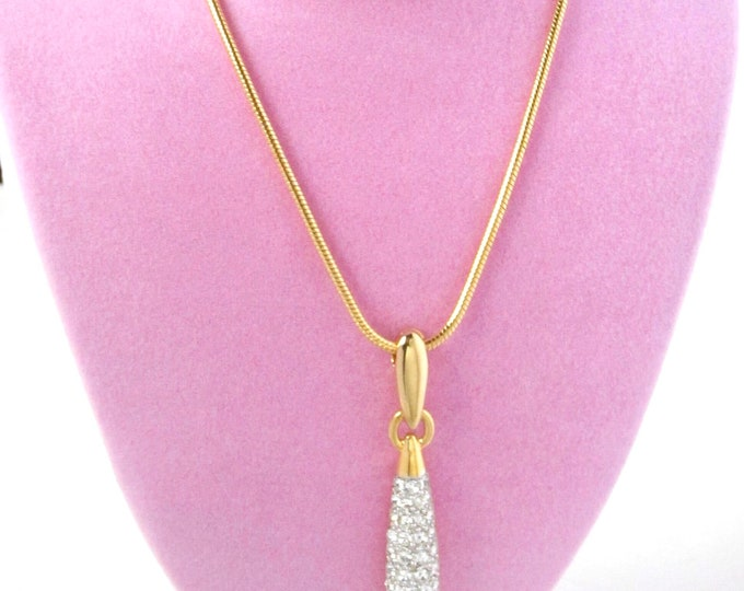 Genuine SWAROVSKI Swan signed Crystal Pendant & Snake chain SET ~sophisticate, understated vintage costume jewelry