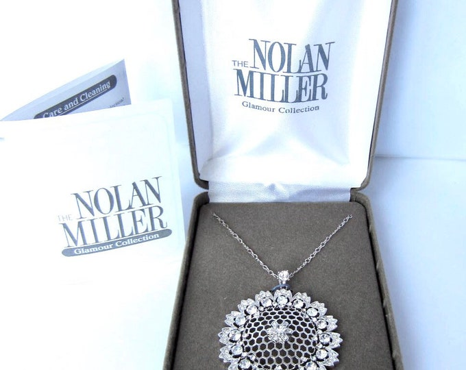 Nolan Miller signed Honey Comb Pendant with crystals, delicate chain, org. box, Romance card ~costume jewelry