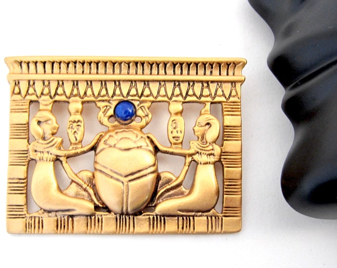 Egyptian Revival scarab scene museum reproduction Pin ~pretty costume jewelry