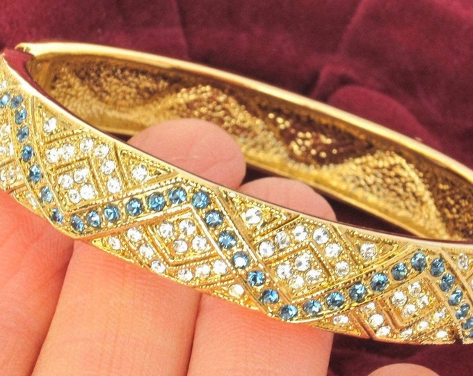 Camrose & Kross signed Jackie B. Kennedy (JBK) SAPPHIRE crystal clamper Bracelet, org. box ~elegant, vintage costume jewelry