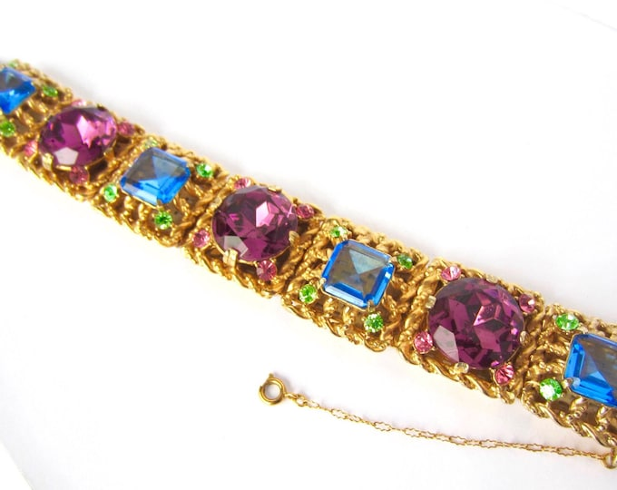 Exquisite, BOLD, Quality, Blue, Purple, Pink crystal, chunky, gold tone, Panel Bracelet ~113 gms of MESMERIZING vintage costume jewelry