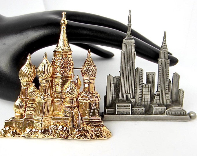 JJ signed Set: Russian Cathedral & New York, NY 1988 brooches ~outstanding costume jewelry