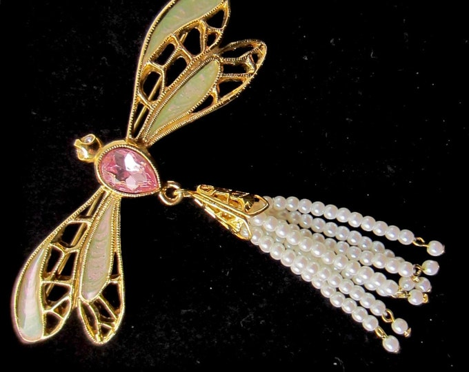 Avon signed Butterfly with seed pearl beads PIN ~pretty, whimsical costume jewelry