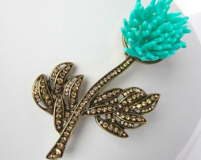 Unique, TURQUOISE Petal & Chocolate Crystal Chrysanthemum FLOWER pin ~mesmerizing, vintage costume jewelry