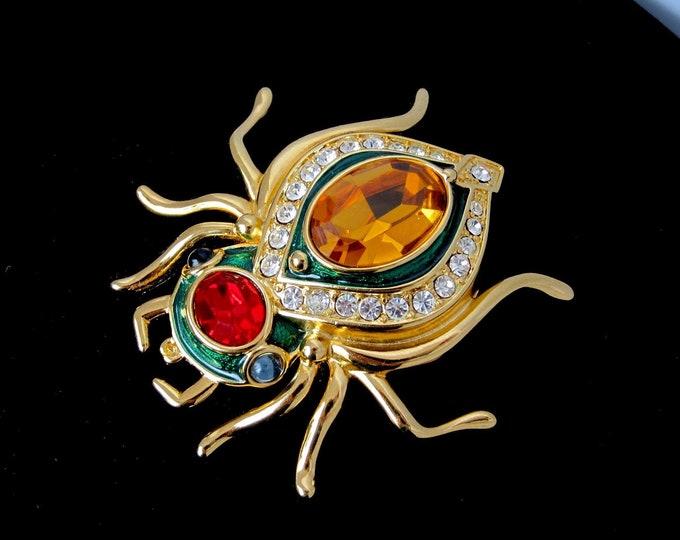 Kenneth Jay Lane (KJL) signed sensational Scarab crystal & enamel bug PIN with org. pouch, warranty card ~vintage costume jewelry