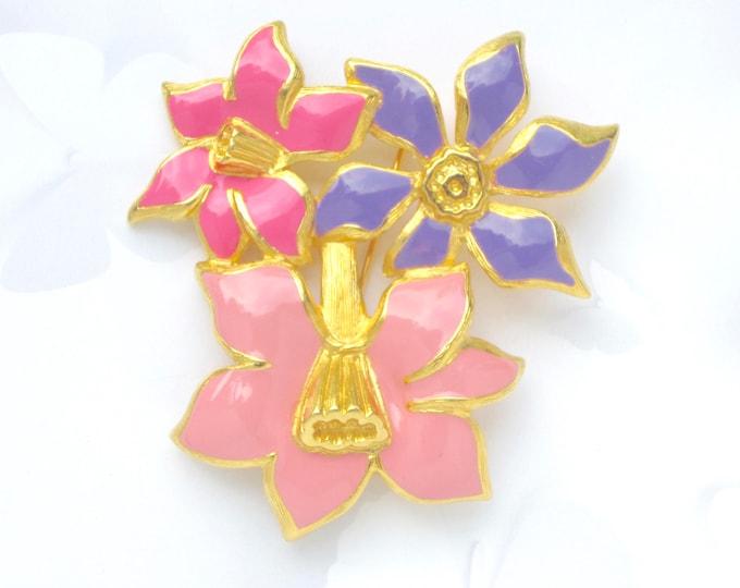 MONET signed MODERNIST, stylized, pink, purple ENAMEL Flower Bouquet pin ~big, bold vintage costume jewelry