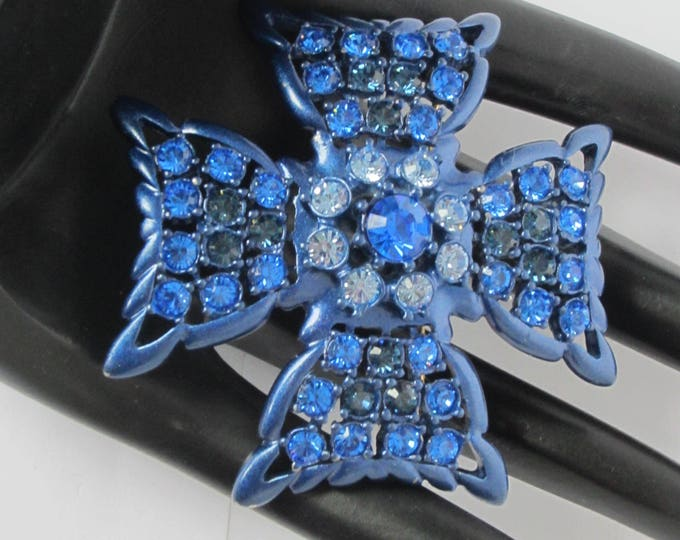 R*E*S*E*R*V*E*D for Donna. Joan Rivers signed Maltese Cross teal blue PIN ~lovely vintage costume jewelry