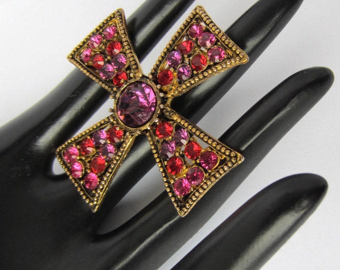 Pretty pink, purple, & red crystal MALTESE Cross pin ~vivid vintage costume jewelry