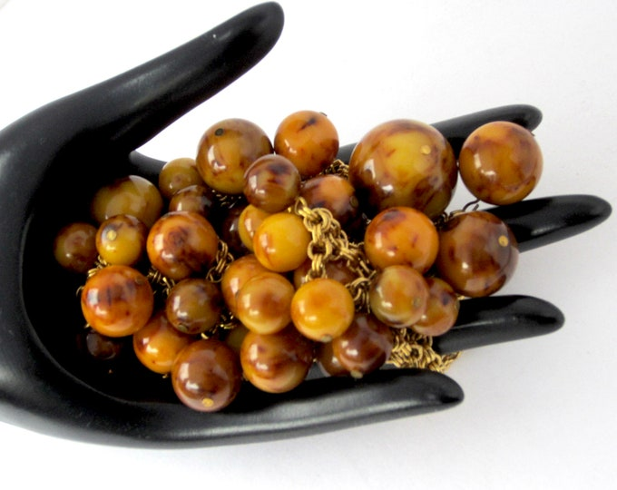 Kenneth Lane signed Butterscotch genuine marbled BAKELITE Necklace with 37 total beads ~vintage costume jewelry