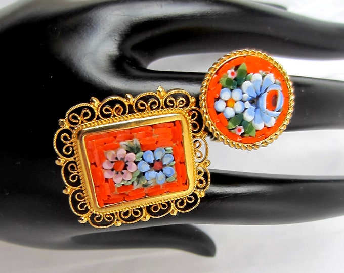 Italian (Italy signed) Mosaic Millefiore PIN & RING SET ~pretty, hand-set, vintage costume jewelry